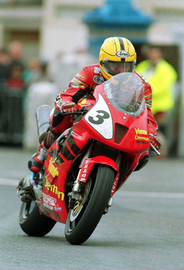 b760afff1b4 Joey Dunlop comes through Ramsey Corner on his final lap during the TT  Formula 1 race on May 3