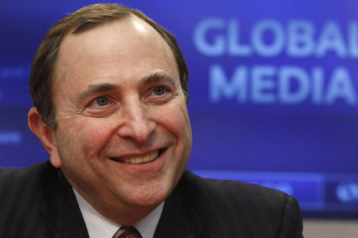 NHL commissioner Gary Bettman, seen speaking a the Reuters Global Forum on December 1, told Quebec Premier Jean Charest last week that he's interested in seeing a franchise back in Quebec City.