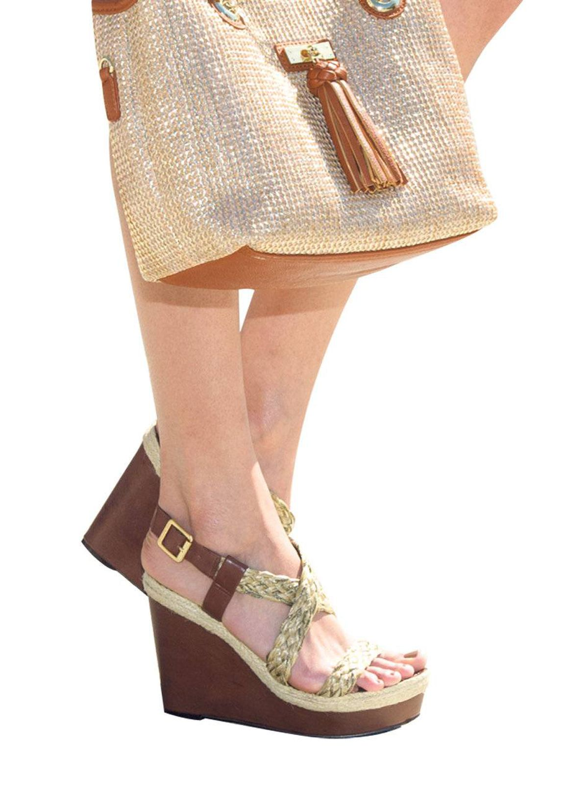 These wedges have a leg up on delicate heels. Vince Camuto wedges, $135 at Town Shoes. Aldo bag, $45.