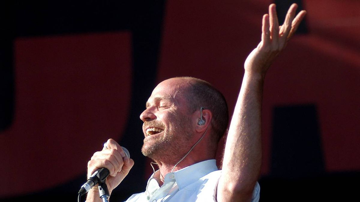 Gordon Downie of the Tragically Hip performs during the Live 8 concert on July 2, 2005, in Barrie, Ont.