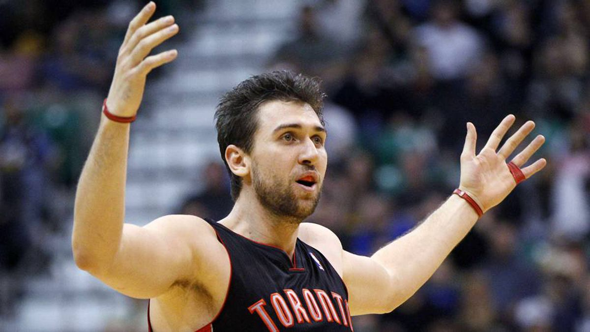 Toronto Raptors centre Andrea Bargnani reacts after hitting a shot during the second half of their NBA basketball game against the Utah Jazz in Salt Lake City.