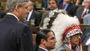Prime Minister Stephen Harper issues a formal apology for Indian residential schools in the House of Commons on June 11, 2008.