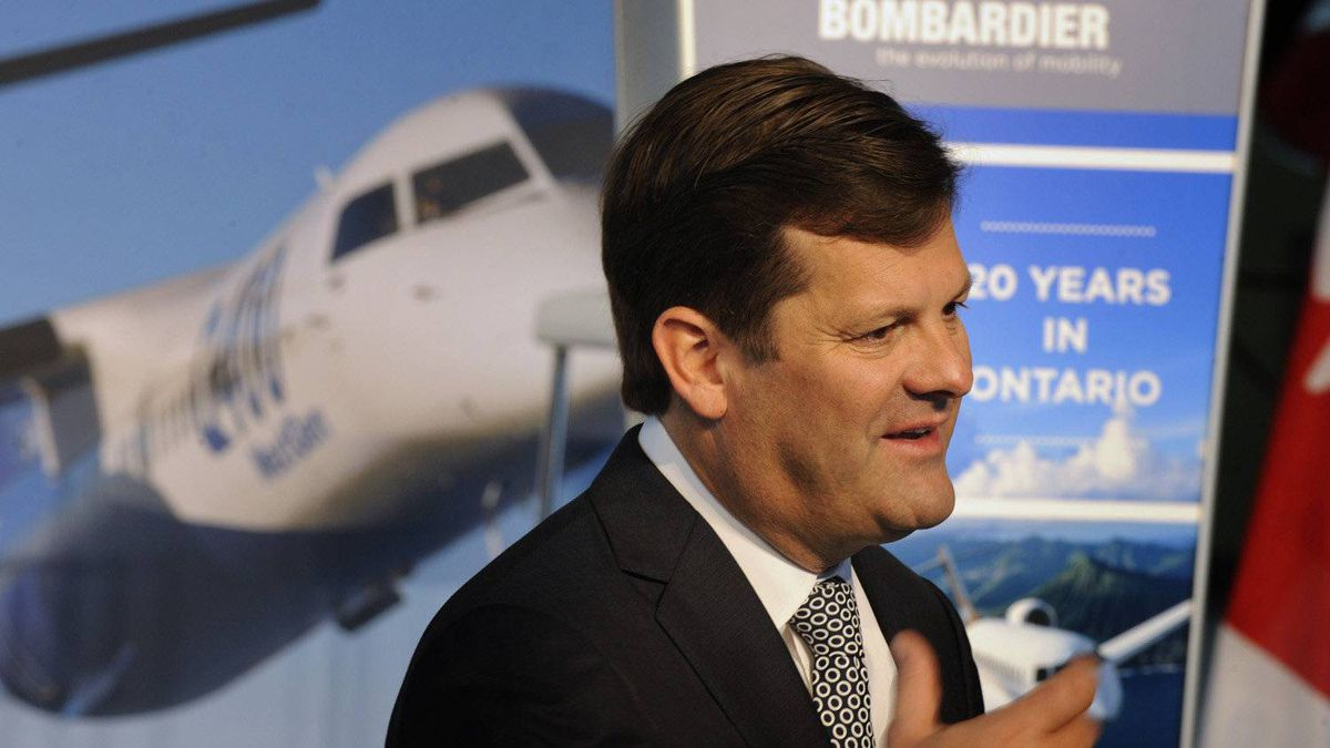Pierre Beaudoin, CEO of Bombardier Inc., speaks to assembled workers at the plant on Tuesday to mark the anniversary.