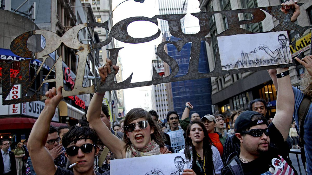 Marchers with Occupy Wall Street lead off a march that included labor unions through Lower Manhattan Wednesday, Oct. 5, 2011 in New York.