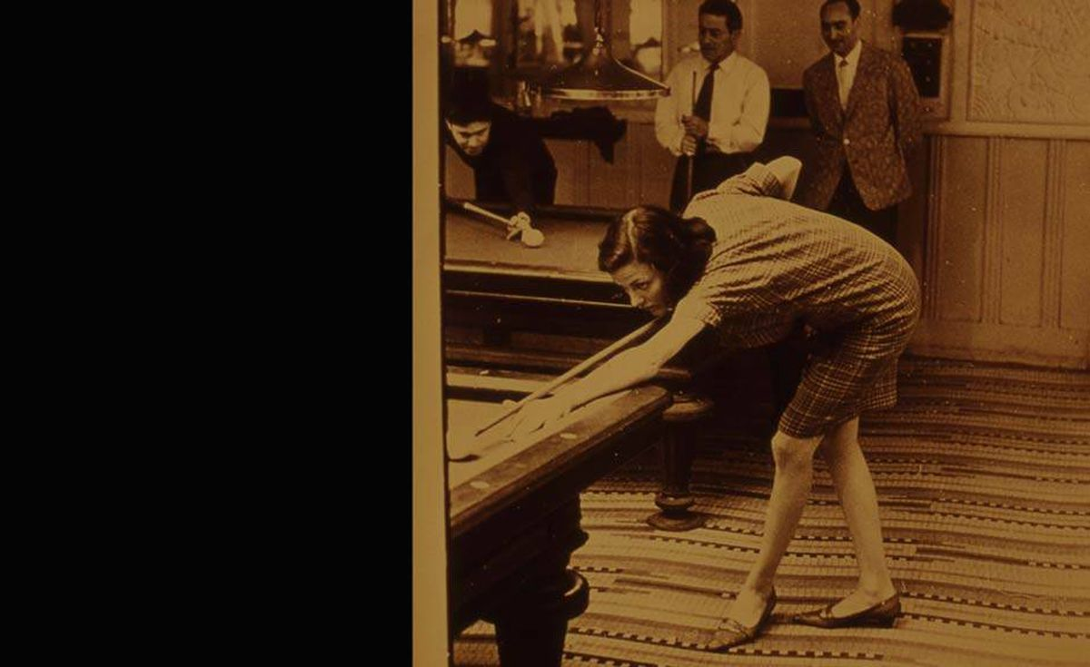 'My mother, Heather Cook, playing pool in Paris. How could I ever be as cool as that?' writes Hilary Cook.