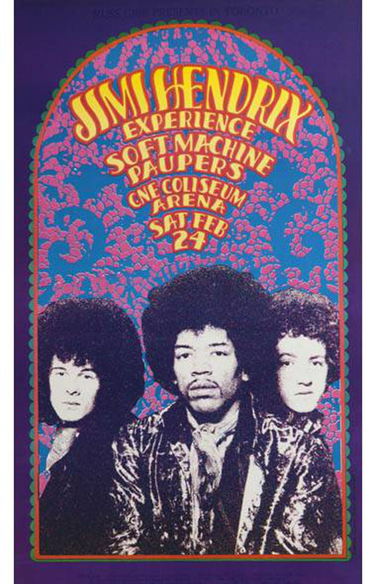 Poster for the Jimi Hendrix Experience at Toronto's CNE February 24, 1968 by artist Gary Grimshaw. Part of a collection of rare and valuable posters gifted to the AGO, photographed on February 18, 2011.
