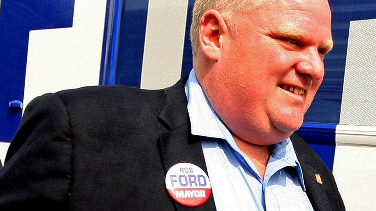 Toronto mayoral candidate Rob Ford arrives at a Mississauga banquet hall on Sept. 19, 2010.