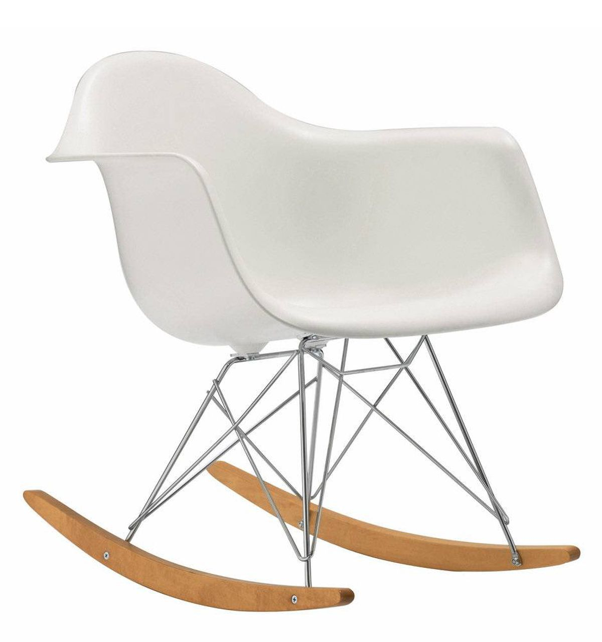 The Eames Molded Plastic Rocker features a deep, moulded shell composed of eco-friendly polypropylene, maple runners and the iconic Eames Eiffel base. $479 at Design Within Reach (www.dwr.com).