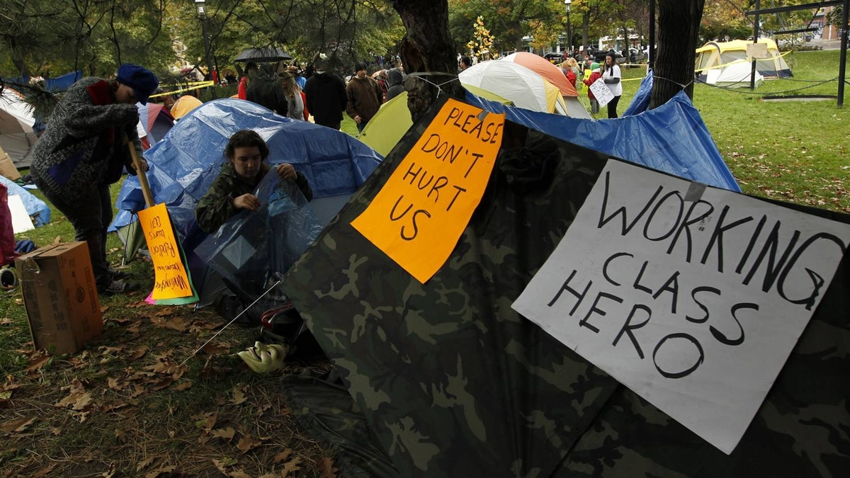 Protesters set up tents in St. James Park during Occupy Toronto protests on October 15, 2011.