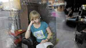 Jazz singer Sophie Milman in her favourite place to read, The Mad Bean Cafe on Eglinton Ave. West in Toronto.