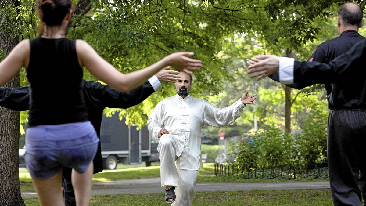 Instructor Ali Siadatan leads a class in Tai Chi in the park near Wu Xing Martial Arts.