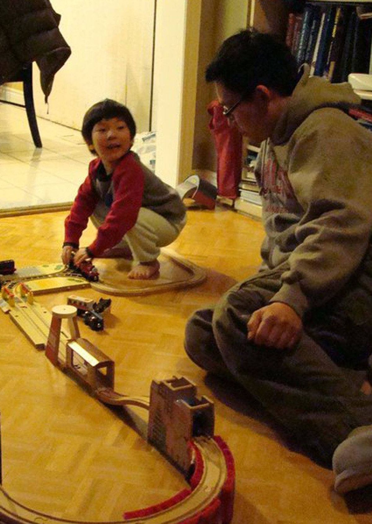 Building train tracks together has become our daily entertainment for the evening.