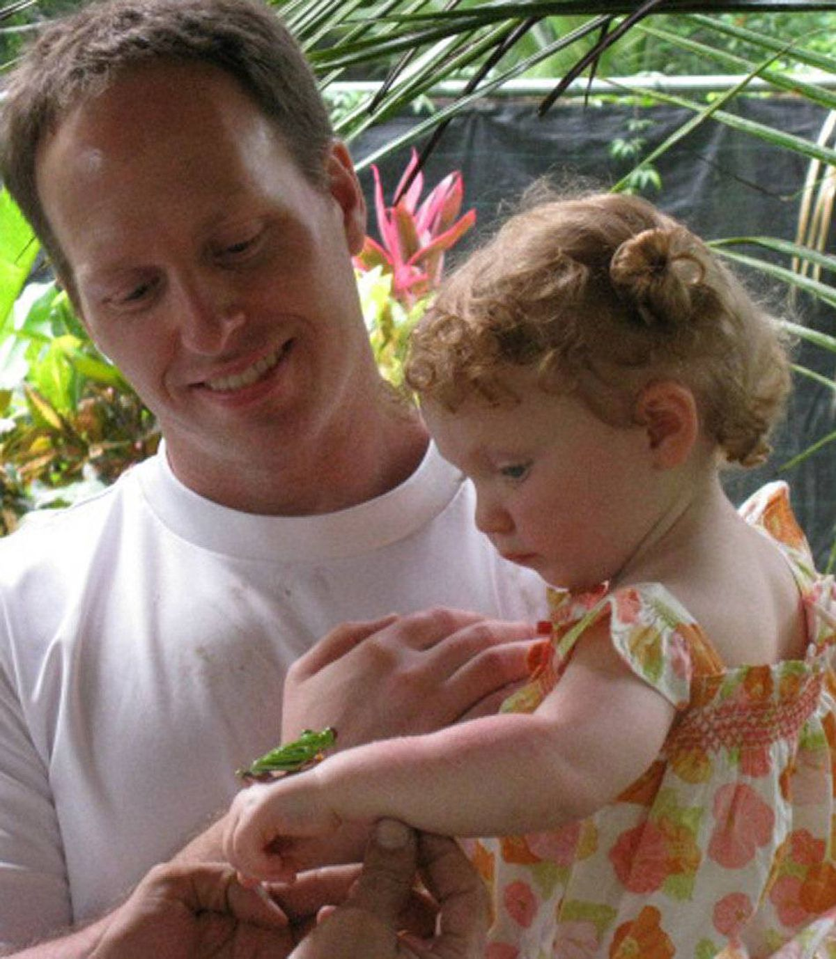 "My husband, Norm took our daughter Brynn to a a butterfly farm in Costa Rica to teach her about butterfilies and other specoies indiginous to Costca Rica. The frog ""Ralph"" was a hit."