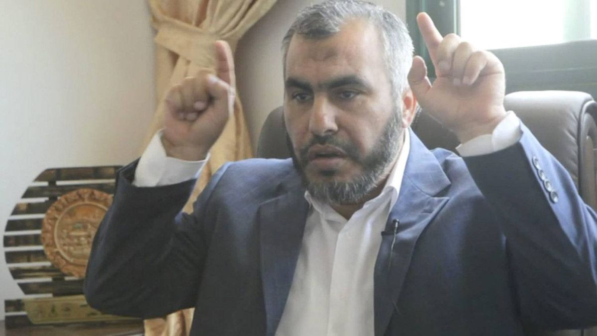 A screen grab from an interview with Hamas cabinet minister Ghazi Hamad. In this segment of the video, he is saying that Hamas members do not have horns.