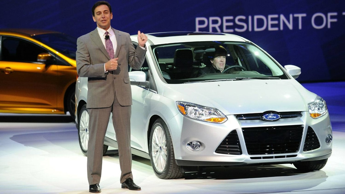 Mark Fields, President of the Americas of the Ford Motor Company, introduces the Focus ST5 at the 2011 North American International Auto Show January 10, 2011 in Detroit, Michigan.