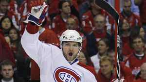 Montreal Canadiens Marc-Andre Bergeron celebrates his goal against the Washington Capitals in Game 7 of their NHL Eastern Conference quarter-final series in Washington on April 28, 2010.