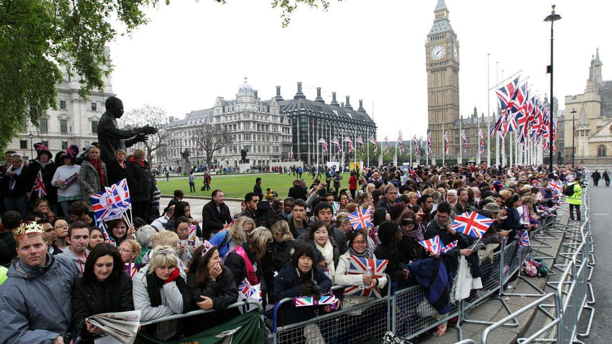 Well wishers line the route ahead of the Royal Wedding of Prince William to Catherine Middleton at Westminster Abbey on April 29, 2011 in London, England.