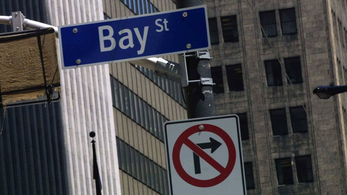 Bay Street sign in heart of Toronto's financial district