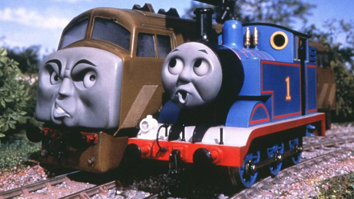 """Thomas the Tank Engine, right, and Diesel 10 in the children's film """"Thomas and The Magic Railroad."""""""