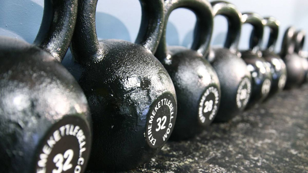 Kettlebells on display at the Motion Room