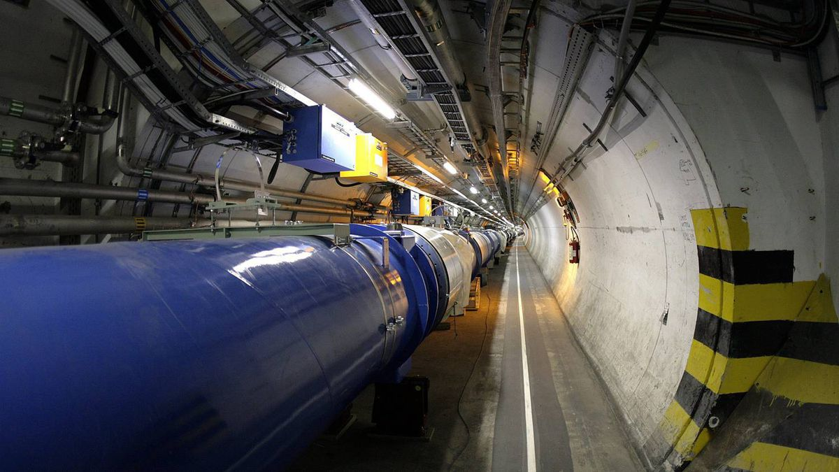 The Large Hadron Collider in its tunnel at CERN near Geneva, Switzerland.