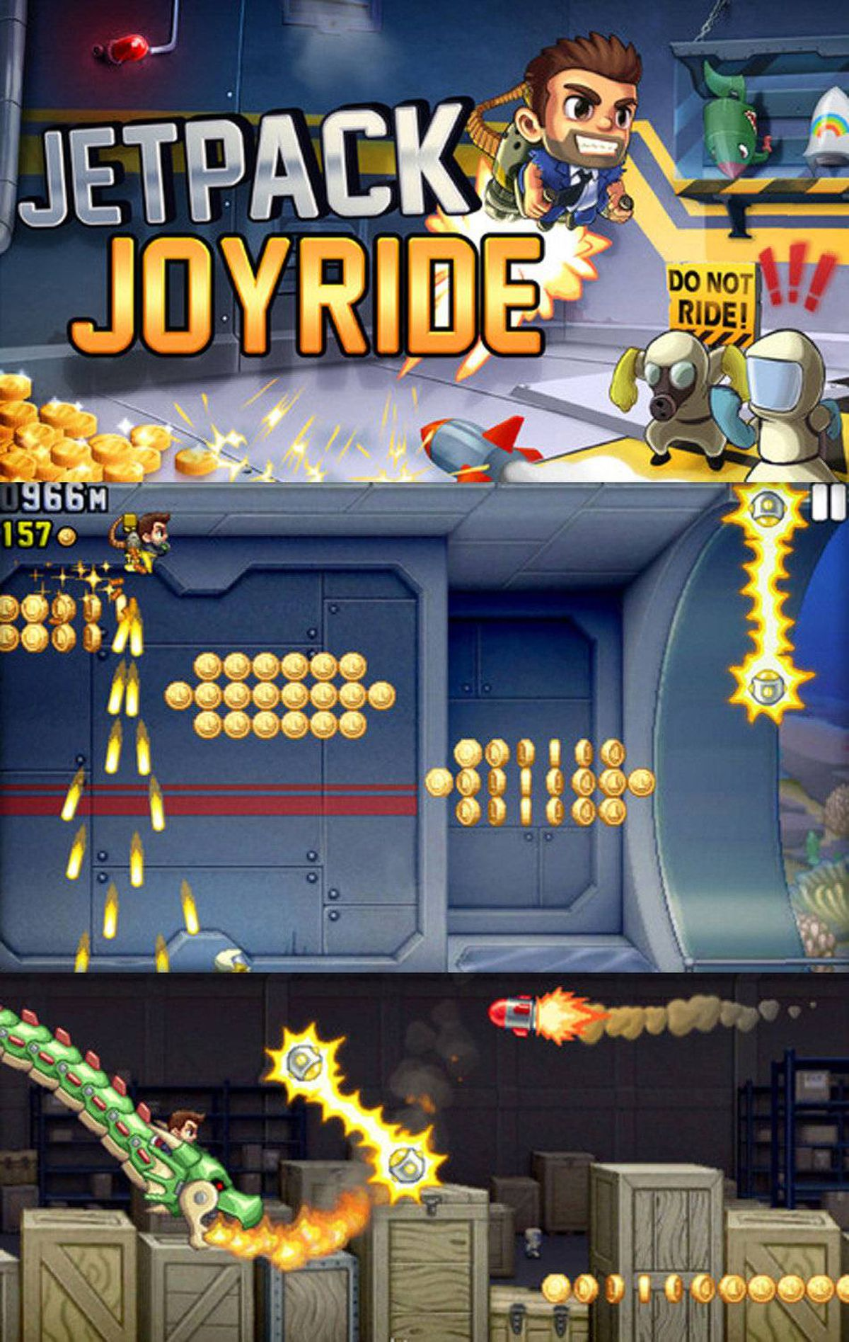 Jetpack Joyride This new game from the producers of Fruit Ninja and Monster Dash is full of energy and fun. You control Barry Steakfries, the bored little hero who should have ignored the secret lab, but instead broke in and stole the jetpack. Now he's trying to control his flight while being pursued by a small army of scientists. After liftoff, you control Barry's flight by touching the screen. (He descends if you let go.) Pilot your way through the secret lab for points, collect coins and complete missions to earn cash and buy new gear (like a better jetpack). ($0.99, universal, halfbrick.com)