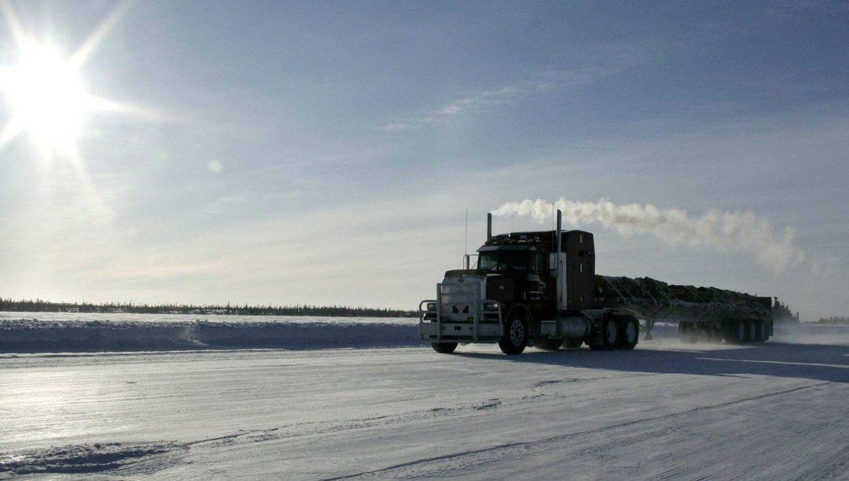 A truck makes its way along the Tibbett-to-Contwoyto road, a 600 km path over lake ice that serves as the sole overland supply route to Canada's diamond industry, in the Northwest Territories.