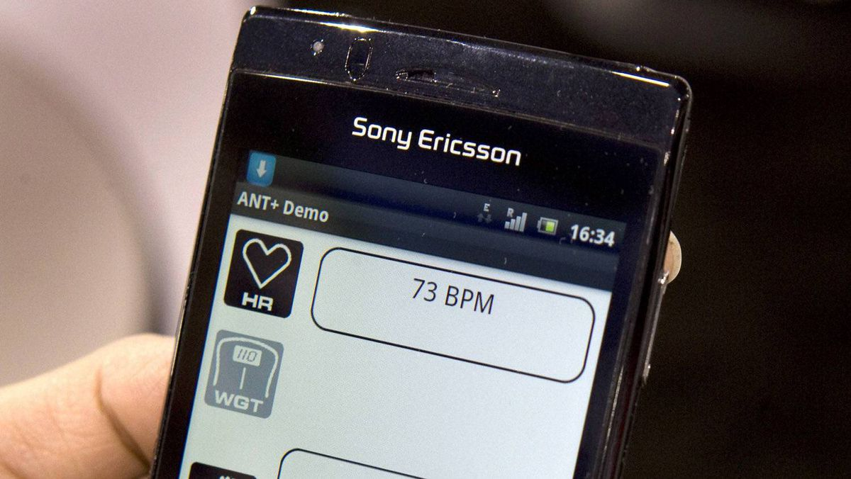 A Sony Ericsson Xperia Arc smartphone is shown with an ANT+ fitness application during the 2011 International Consumer Electronics Show (CES) in Las Vegas, Nevada