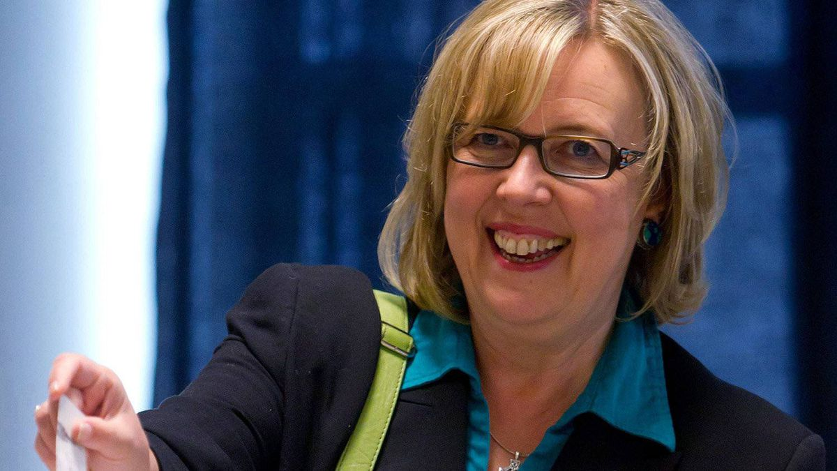 Green Party leader Elizabeth May holds up her ballot while casting her vote in the federal election at a polling station in Sidney, B.C., on Monday May 2, 2011.