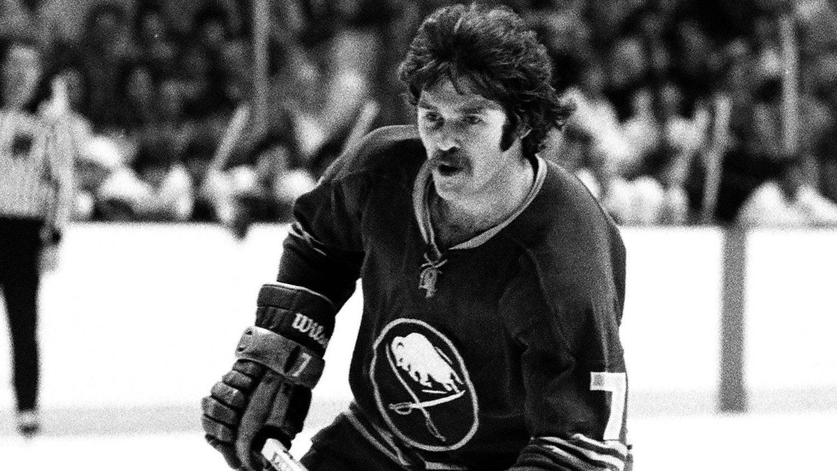 Rick Martin of the Buffalo Sabres skates against the Boston Bruins at Boston Garden back in the 1970s.