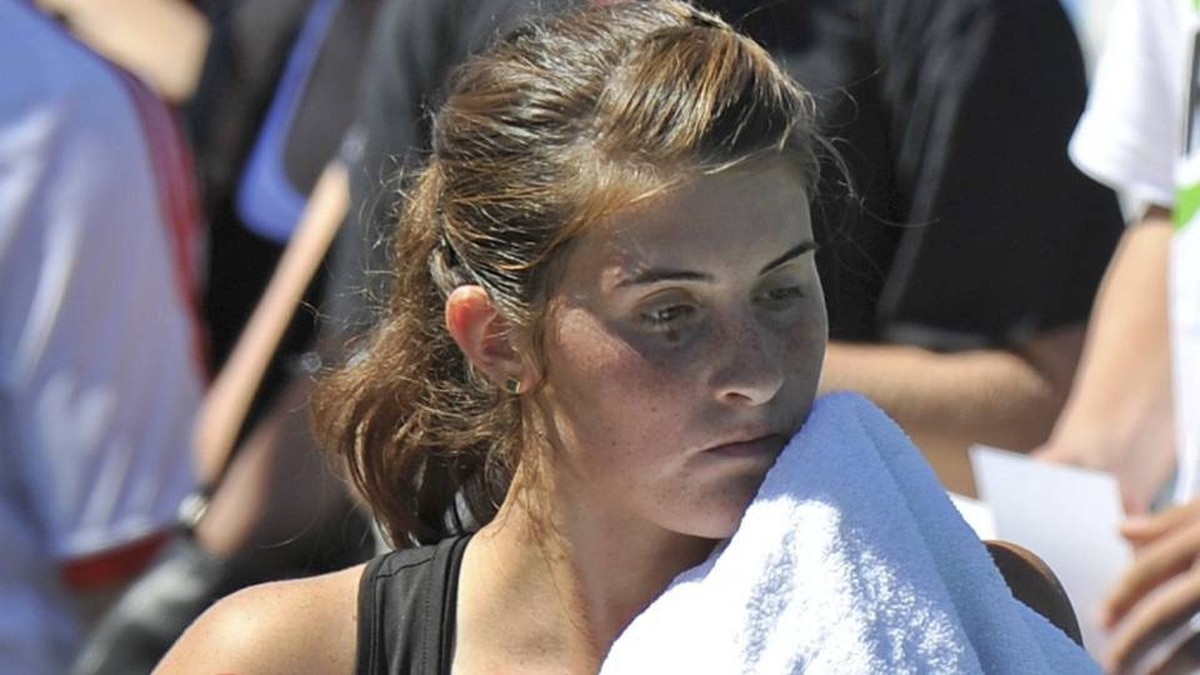 Rebecca Marino of Canada reacts after her loss to Gisela Dulko of Argentina during their match at the U.S. Open tennis tournament in New York.