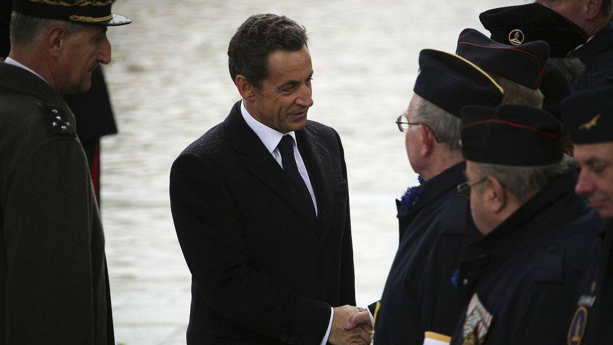French President Nicolas Sarkozy attends the annual Armistice Day service on Nov/ 11, 2010 in Paris, France.