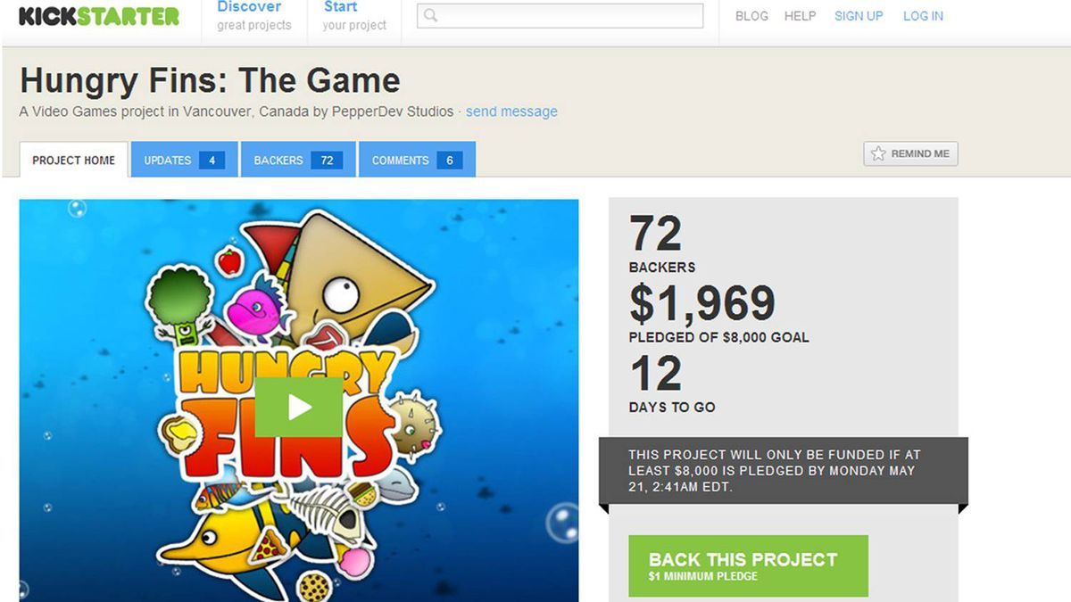 Screen shot of PepperDev's Kickstarter page for its Hungry Fins video game project