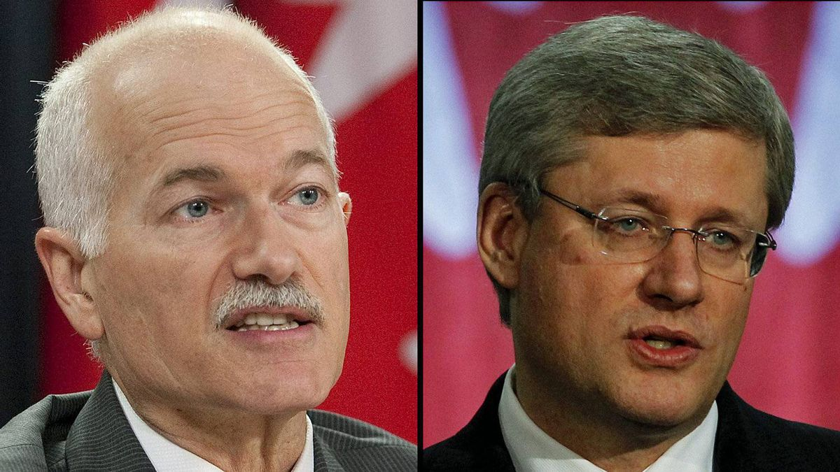 A combination photograph of NDP Leader Jack Layton and Prime Minister Stephen Harper.