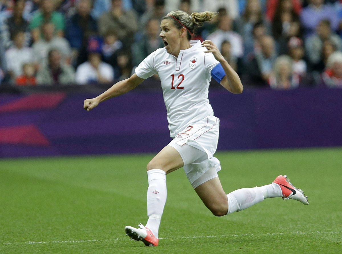 Canada's Christine Sinclair celebrates her goal against Britain during their quarterfinal women's soccer match.