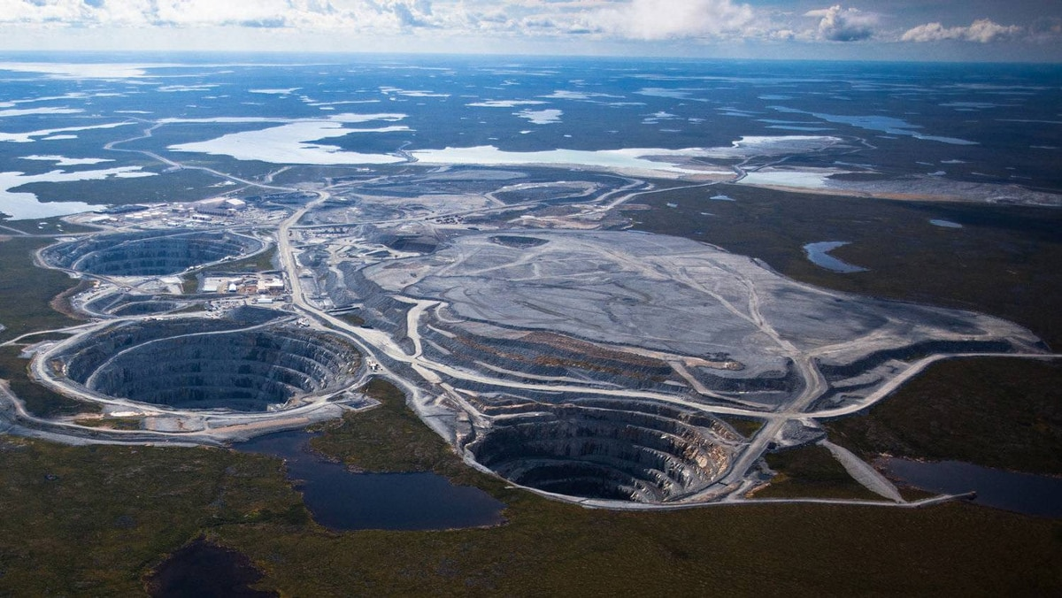 BHP Billiton's Ekati diamond mine is located 200 kilometers south of the Arctic Circle. and is Canada's first surface and underground diamond mine.
