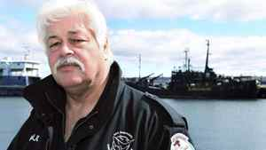Paul Watson, head of the Sea Shepherd Conservation Society, stands on a dock near his vessel the Farley Mowat in Sydney, Nova Scotia, April 14, 2008.