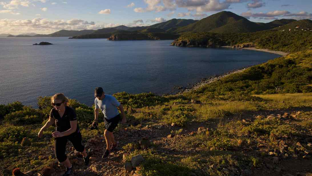 Hiking along the the Saltpond Bay Trail on the island of St. John in the U.S. Virgin Islands.