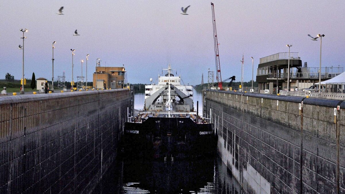 A Canadian cargo ship passes through the Dwight D. Eisenhower Lock along the St. Lawrence Seaway in Massena, N.Y., on July 9, 2009.