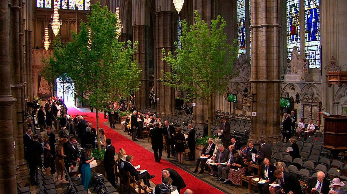 In this image taken from video, a general view of guests gathering inside Westminster Abbey for the Royal Wedding in London on Friday, April, 29, 2011.