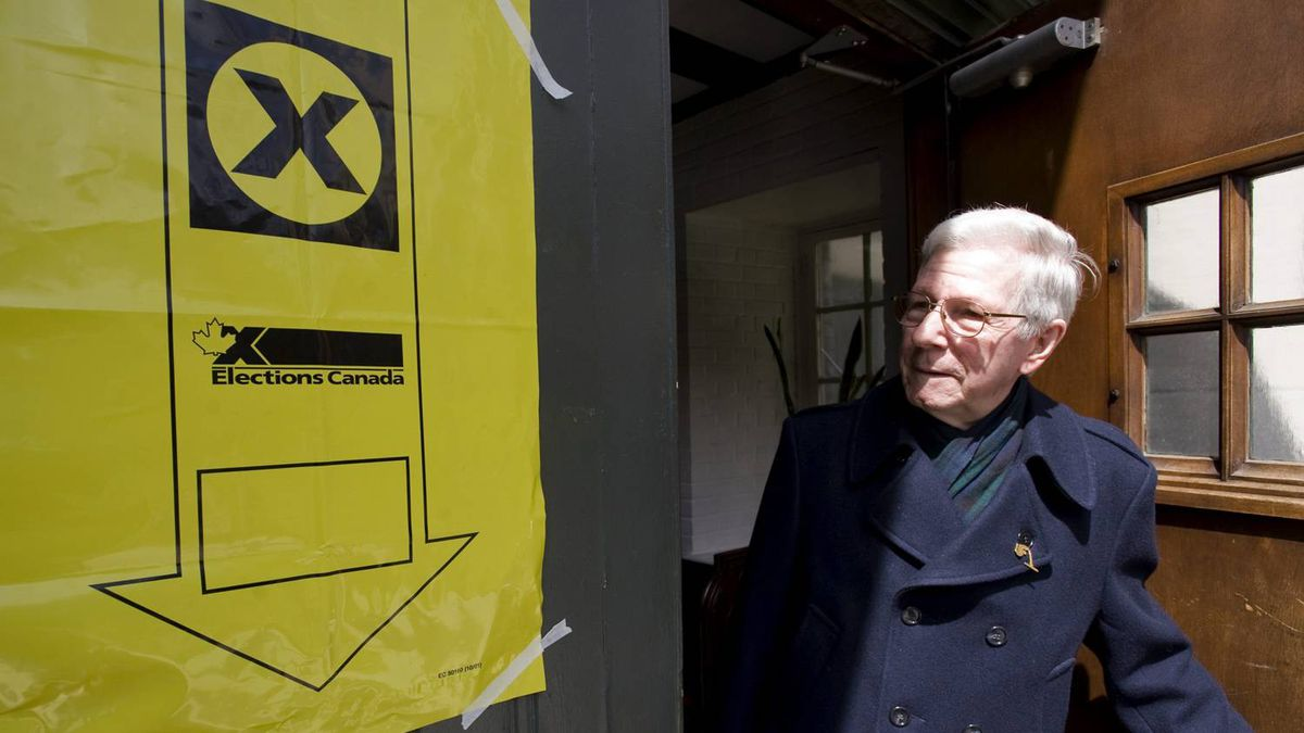Andre Leveille leaves an advanced polling station in Montreal April 22, 2011. Canadians vote in a federal election on May 2, 2011.