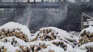Smoke rises from the Babine Forest Products mill in Burns Lake, B.C. Sunday, Jan. 22, 2012.