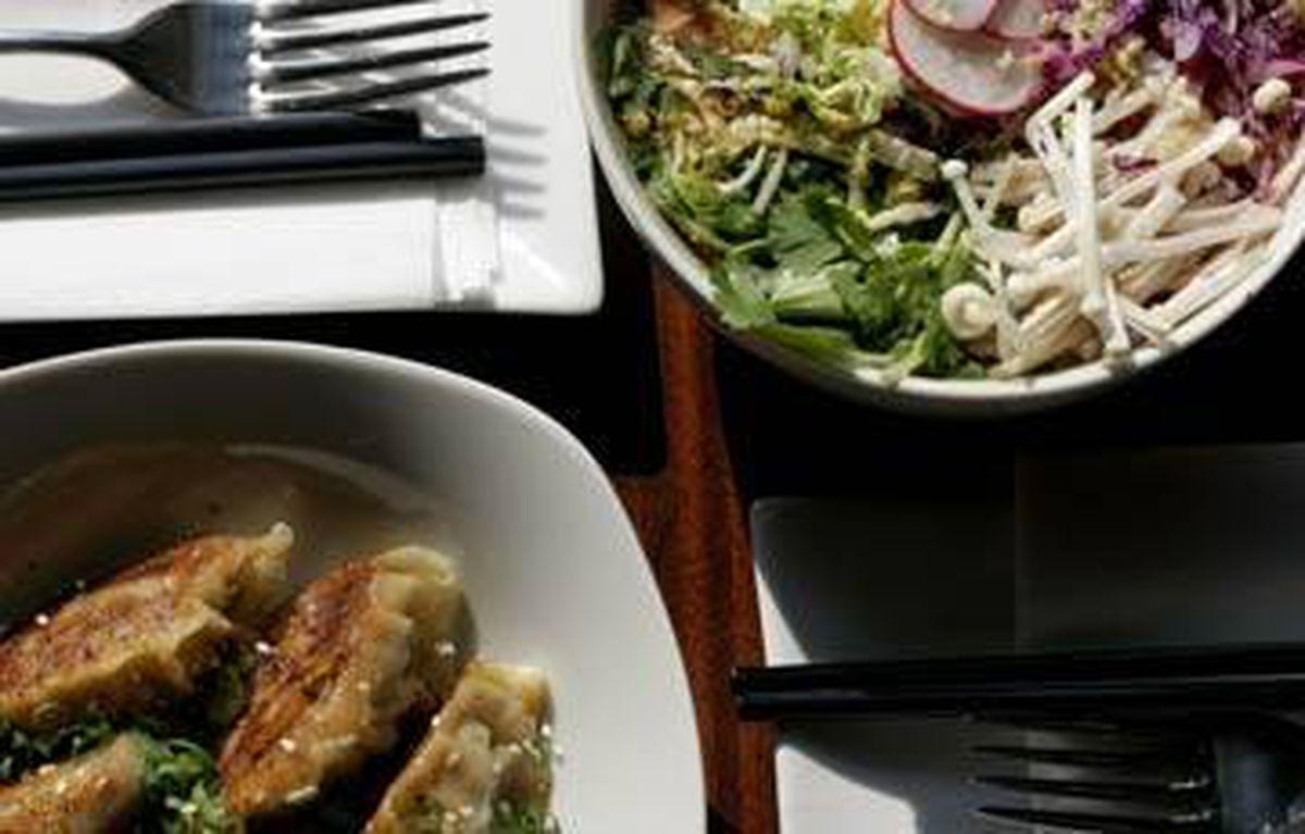 Pork gyoza is loosely stuffed with luscious mirin, shiitake and Sloping Hills organic pork mince.