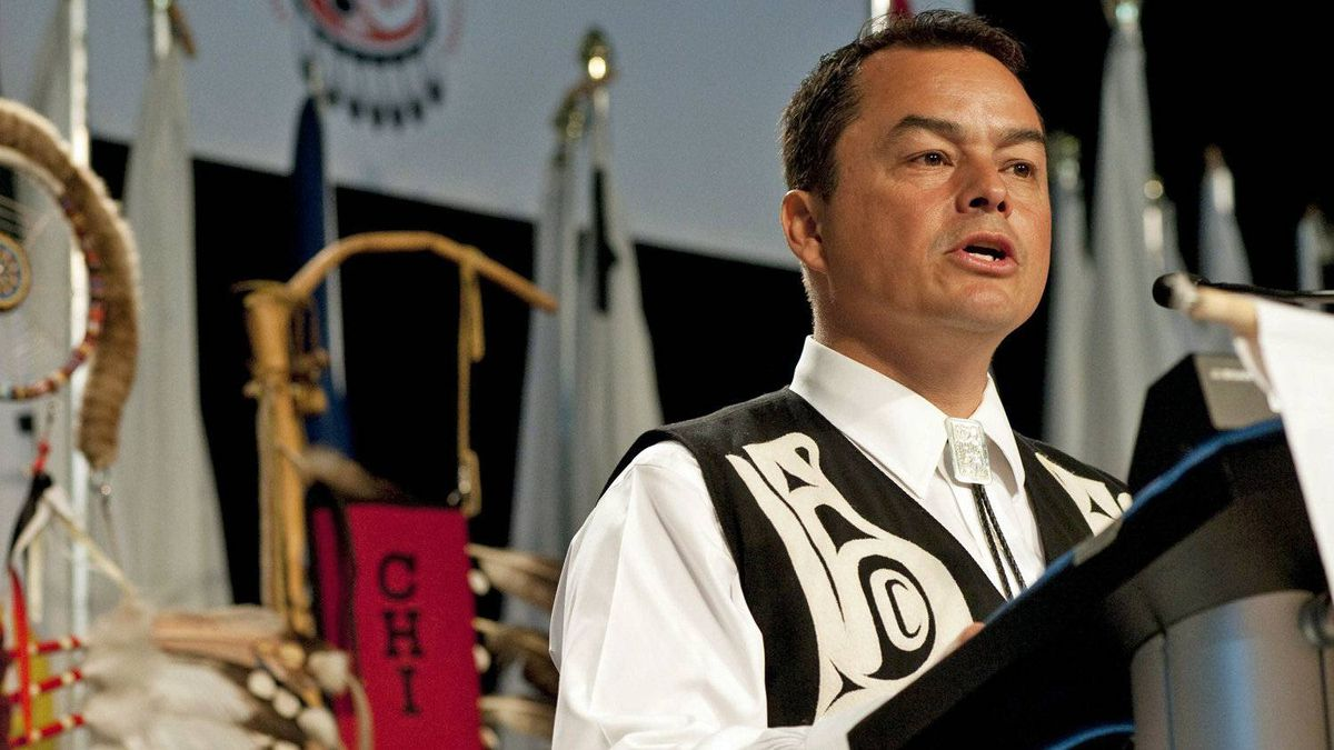 National Chief Chief Shawn Atleo speaks to the Assembly of First Nations in Moncton on July 12, 2011.
