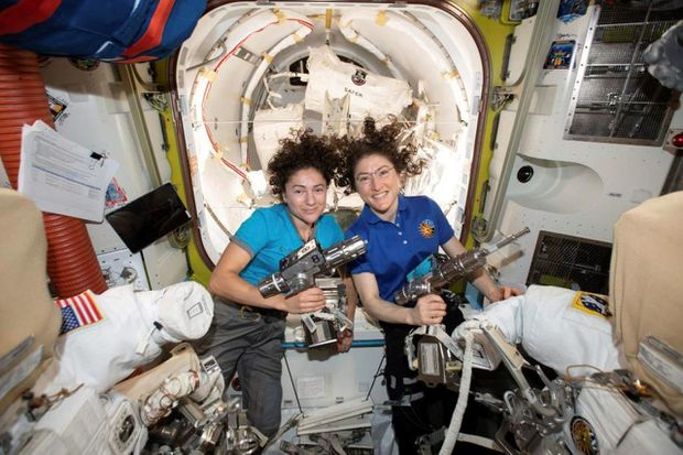 International Space Station's two women prep for 1st all-female spacewalk