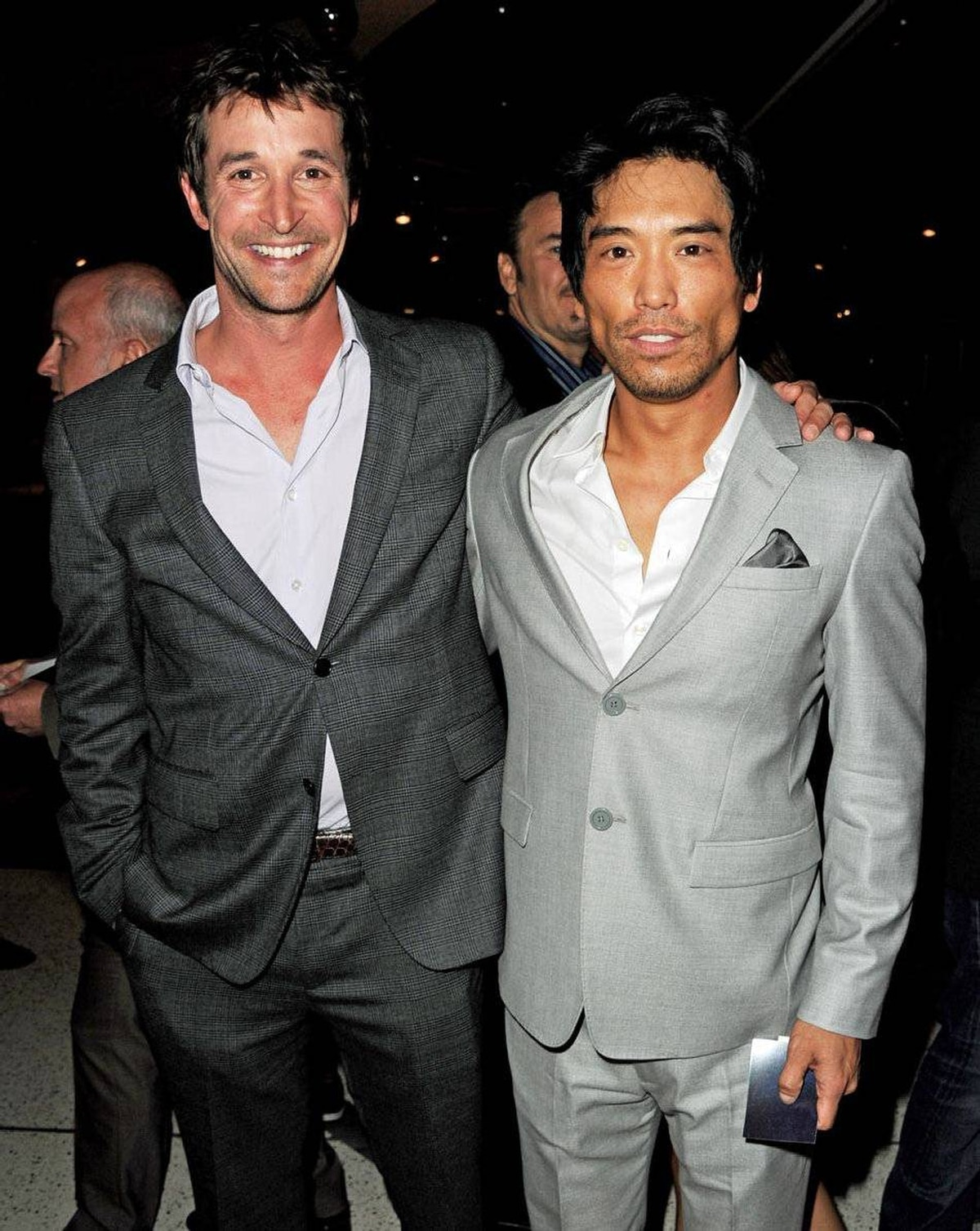 Actors Noah Wyle, left, and Peter Shinkoda at the premiere of Falling Skies at the Pacific Design Center on June 13, 2011 in West Hollywood, Califiornia.