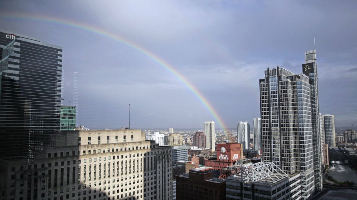 A rainbow appears near downtown Chicago, Monday, Sept. 26, 2011, after early morning storms blew through area.