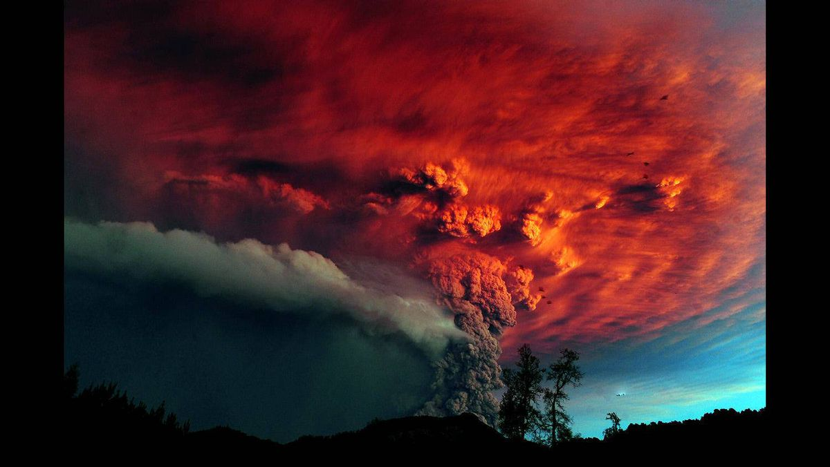 A cloud of ash billowing from Puyehue volcano near Osorno in southern Chile, 870 km south of Santiago, on June 5, 2011. Puyehue volcano erupted for the first time in half a century on June 4, 2011, prompting evacuations for 3,500 people as it sent a cloud of ash that reached Argentina.