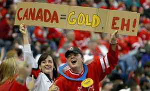 Fans of Canada show their support against Russia during the 2011 IIHF World U20 Championship Gold medal game between Canada and Russia at the HSBC Arena on January 5, 2011 in Buffalo, New York.