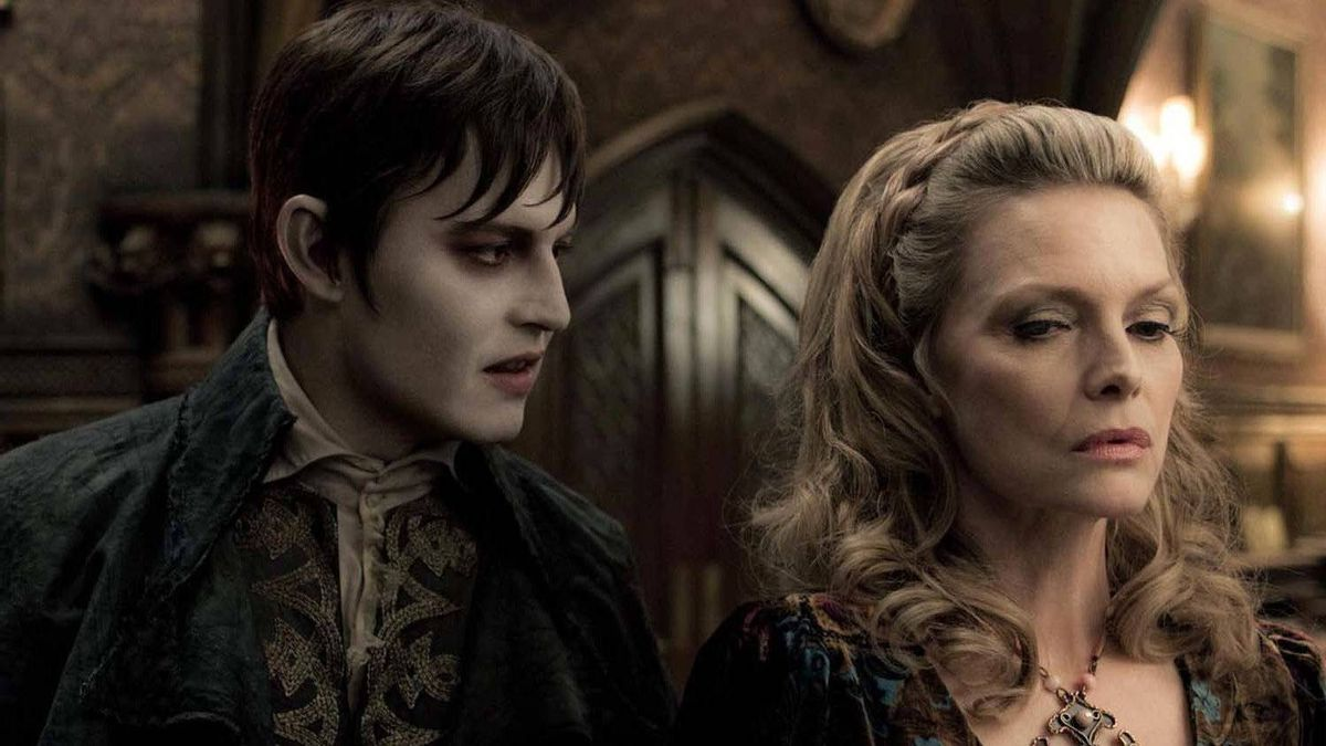 "Johnny Depp and Michelle Pfeiffer in a scene from ""Dark Shadows"""